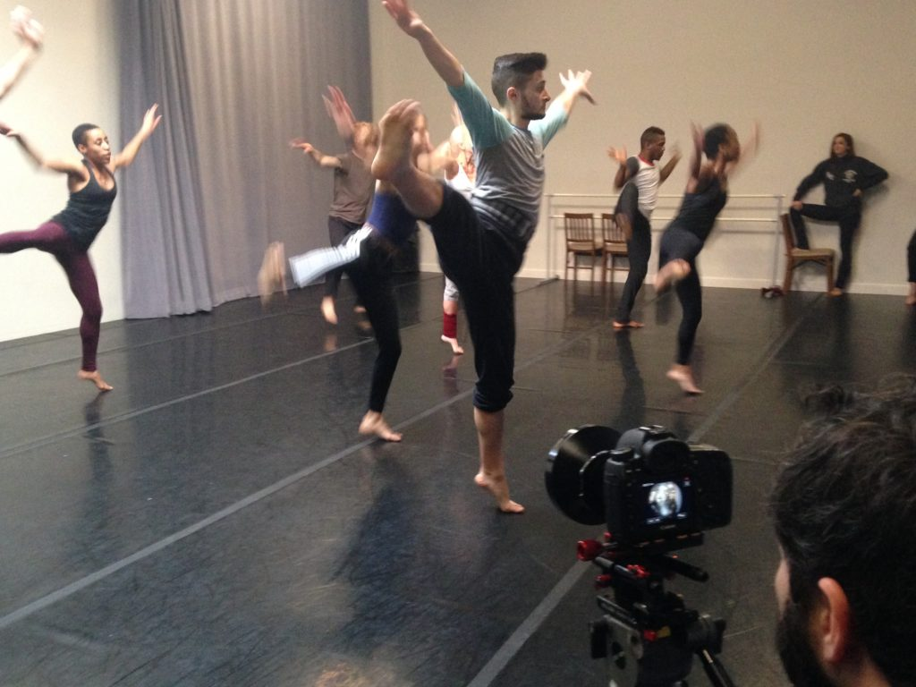Filming Elisa Monte Dance for the Dance Portal in the company's Queens rehearsal studio.